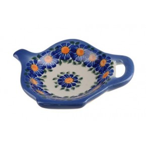 Classic Boleslawiec Pottery Hand Painted Ceramic Tea Bag Tidy Holder, Diameter: 3.9 inch 324-U-018