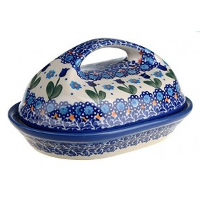 Classic Boleslawiec Hand Painted Stoneware Butter Dish with lid 331-U-006-Q1