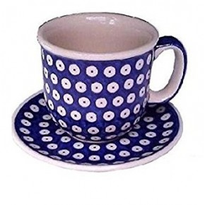 Classic Boleslawiec Pottery Hand Painted Ceramic Cup and Saucer 0.3 litre Large 034-T-001