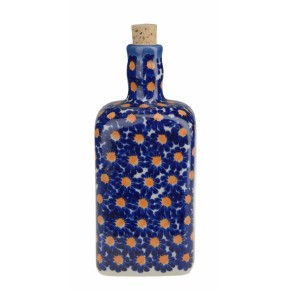 Classic Boleslawiec Pottery Hand Painted Ceramic Olive Oil or Vinegar Bottle 0.7 litre 013-U-002