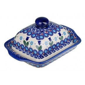 Classic Boleslawiec Pottery Hand Painted Stoneware Butter Dish with lid 067-U-006