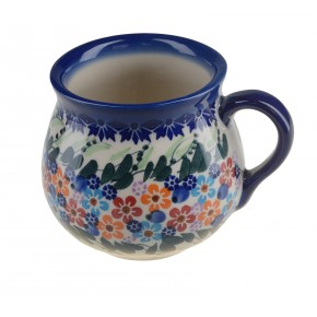 Classic Boleslawiec, Polish Pottery Hand Painted Ceramic Mug Barrel 350 ml, 525-U-008