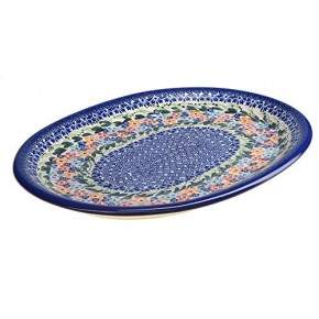 Classic Boleslawiec, Polish Pottery Hand Painted Ceramic Oval Dish, Banquet Turkey Serving Platter, L: 34 cm, 13 inches, Large, 520-U-008