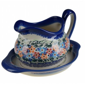 Classic Boleslawiec, Polish Pottery, Hand Painted Ceramic Gravy Boat and Stand 0.7 Litre 128/129-U-008