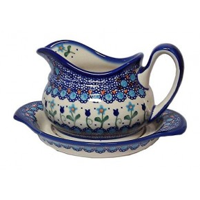 Classic Boleslawiec Pottery Hand Painted Ceramic Gravy Boat and Stand 0.7 Litre 128/129-U-006