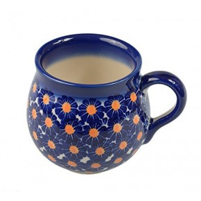 Classic Boleslawiec, Polish Pottery Hand Painted Ceramic Mug Barrel 300 ml, 524-U-002