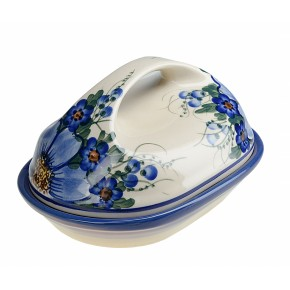 Classic Polish, Boleslawiec Pottery Hand Painted Stoneware Butter Dish with lid 331-A-064