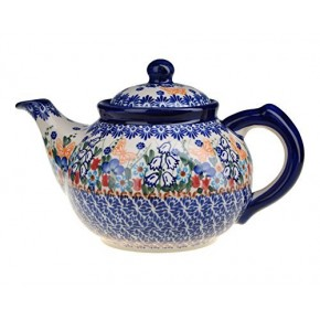 Classic Boleslawiec Pottery Hand Painted Ceramic 9-Cup Teapot with lid 1.5 litre 018-U-099