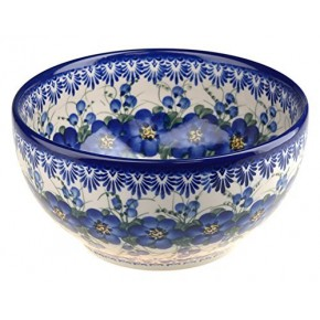 Classic Polish Pottery Hand Painted Ceramic Salad Bowl 1.7 litres / 3.1 pints 074-U-003