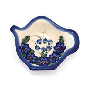 Classic Boleslawiec Pottery Hand Painted Ceramic Tea Bag Tidy Holder, Diameter: 3.9 inch 324-U-001