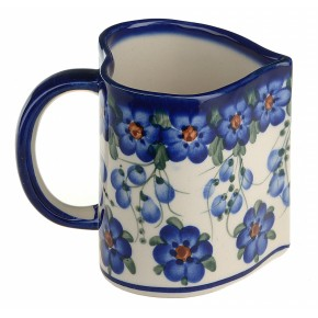 Classic Boleslawiec Pottery Hand Painted Ceramic Heart Shaped Mug 350ml, Large 511-U-001