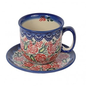 Classic Boleslawiec, Polish Pottery Hand Painted Ceramic Cup and Saucer 300ml 034-U-009