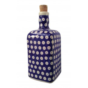Classic Boleslawiec Pottery Hand Painted Ceramic Olive Oil or Vinegar Bottle 0.7L 013-T-001