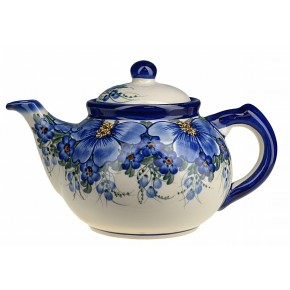 Classic Boleslawiec Pottery Hand Painted Ceramic 9-Cup Teapot with lid