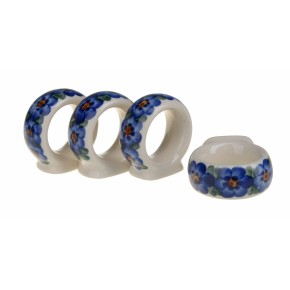 Classic Boleslawiec Pottery Hand Painted Ceramic Napkin Rings set of 4, 127-U-001