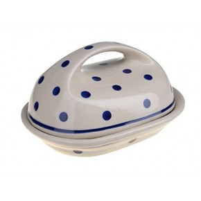 Classic Boleslawiec Pottery Hand Painted Stoneware Butter Dish with lid 331-T-075