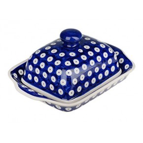 Classic Boleslawiec Pottery Hand Painted Stoneware Butter Dish with lid 067-T-001