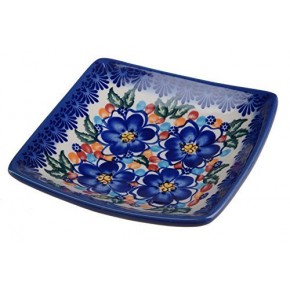 Classic Boleslawiec, Polish Pottery Hand Painted Ceramic Square Bowl 0.25 litre 295-U-097