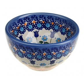 Classic Boleslawiec Pottery Hand Painted Ceramic Snack & Dip Bowl, 250 ml Small 518-U-006