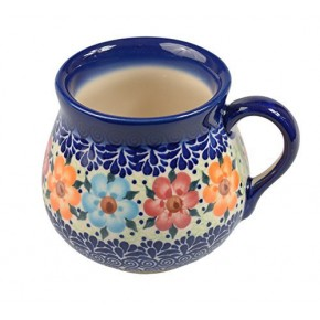 Classic Boleslawiec, Polish Pottery Hand Painted Ceramic Mug Barrel 350 ml, 525-U-004