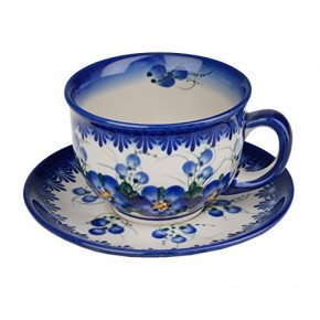 Classic Boleslawiec Pottery Hand Painted Ceramic Cup and Saucer 200ml 033-U-003
