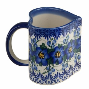 Classic Boleslawiec Pottery Hand Painted Ceramic Heart Shaped Mug 350ml, Large 511-U-003