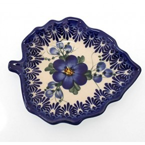 Classic Boleslawiec Pottery Hand Painted Ceramic Tea Bag Tidy Holder, Diameter: 4.3x5.1inch 516-U-003