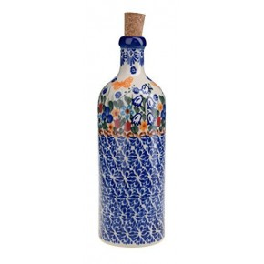 Classic Boleslawiec Pottery Hand Painted Ceramic Olive Oil or Vinegar Bottle 500ml 512-U-099