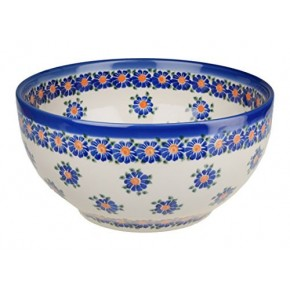Classic Boleslawiec Pottery Hand Painted Ceramic Salad Bowl, Large 2.5 litre 075-U-018