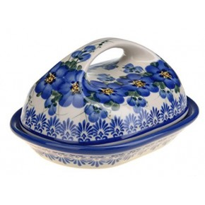 Classic Boleslawiec Pottery Hand Painted Stoneware Butter Dish with lid 331-U-003