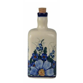 Classic Boleslawiec Pottery Hand Painted Ceramic Olive Oil or Vinegar Bottle 0.7 litre 013-A-064
