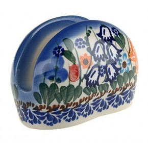 BCV Classic Boleslawiec, Polish Pottery Hand Painted Ceramic Napkin / Serviette Holder (U-099)
