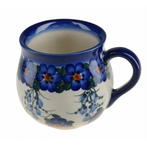 Classic Polish Boleslawiec Pottery, Hand Painted Ceramic Mug Barrel 300 ml, 524-U-001