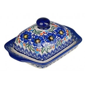 Classic Boleslawiec Pottery Hand Painted Stoneware Butter Dish with lid 067-U-097