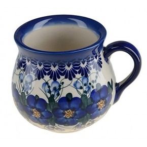 Classic Boleslawiec, Polish Pottery Hand Painted Ceramic Mug Barrel 350ml, 525-U-003