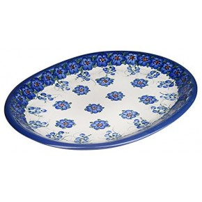 Classic Boleslawiec Pottery Hand Painted Ceramic Oval Dish, Banquet Turkey Serving Platter, L: 34 cm, 13 inches, Large, 520-U-001