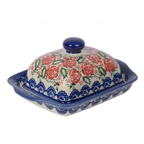Classic Boleslawiec Pottery Hand Painted Stoneware Butter Dish with lid 067-U-009