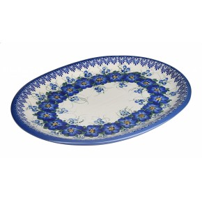 Classic Boleslawiec Pottery Hand Painted Ceramic Oval Dish, Banquet Turkey Serving Platter, L: 34 cm, 13 inches, Large, 520-U-003