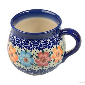 Classic Boleslawiec, Polish Pottery Hand Painted Ceramic Mug Barrel 300 ml, 524-U-004
