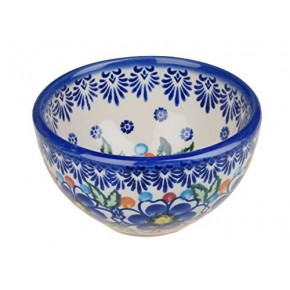 Classic Boleslawiec Pottery Hand Painted Ceramic Snack & Dip Bowl, 250 ml Small 518-U-097