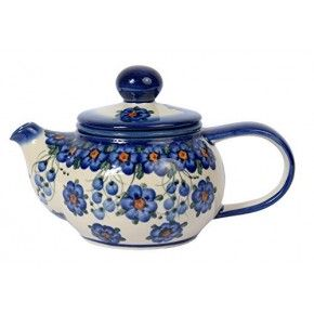 Classic Boleslawiec, Polish Pottery Hand Painted 2-Cup Ceramic Teapot with removable infuser 0.5 litre 019-U-001