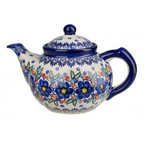 Classic Boleslawiec Pottery Hand Painted Ceramic 9-Cup Teapot with lid 1.5 litre 018-U-097