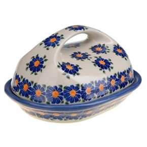 Classic Boleslawiec Pottery Hand Painted Stoneware Butter Dish with lid 331-U-018