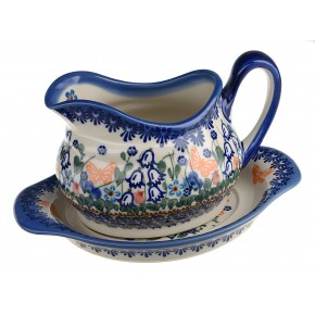 Classic Boleslawiec Pottery Hand Painted Ceramic Gravy Boat and Stand 0.7 Litre 128/129-U-099