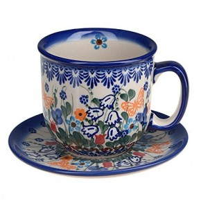 Classic Boleslawiec Pottery Hand Painted Ceramic Cup and Saucer 0.3 litre 034-U-099