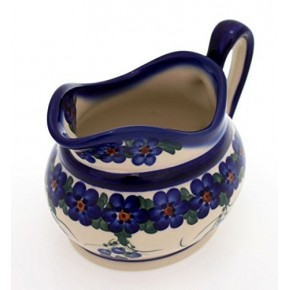 Classic Boleslawiec Pottery Hand Painted Ceramic Gravy Boat and Stand 0.7 Litre 128/129-U-001