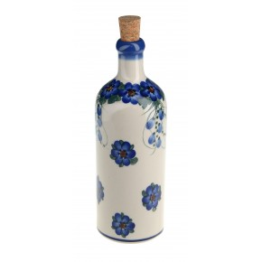Classic Boleslawiec Pottery Hand Painted Ceramic Olive Oil or Vinegar Bottle 500ml 512-U-001
