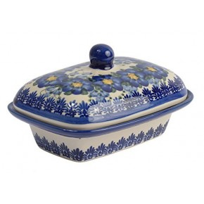 Classic Boleslawiec, Polish Pottery Hand Painted Stoneware, Ceramic Butter Dish with lid 066-U-003
