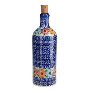 Classic Boleslawiec Pottery Hand Painted Ceramic Olive Oil or Vinegar Bottle 500ml 512-U-004