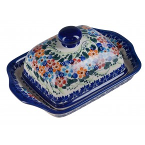 Classic Boleslawiec Pottery Hand Painted Stoneware Butter Dish with lid 067-U-008